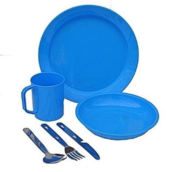 Picture of Cutlery set for extra persons including larger plate, small plate, bowl, coffee mug, glass, knife, fork & spoon