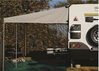 Picture of Standard canvas awning with three poles, fixed to Mobi Lodge